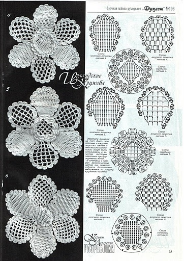 Crochet appliqué flower with diagram #01