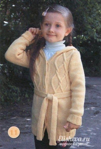 Детский кардиган вязаный спицами