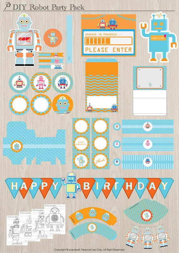 Robot birthday party pack. Complete Printables. DIY Robot theme party for boys. Orange and blue theme colors. Instant Download.