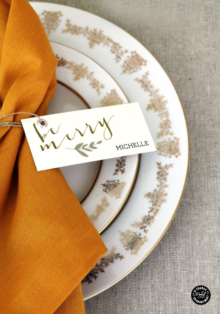 Set of four free printable place card designs for your Christmas dinner table.: