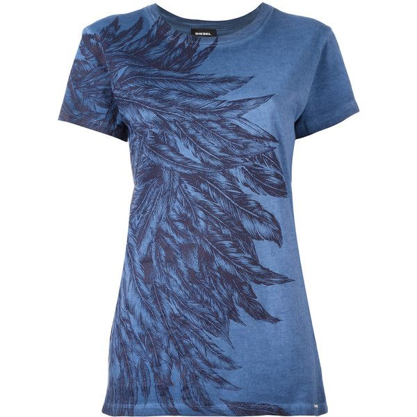 Diesel Feathers Print T-shirt ($95) ❤ liked on Polyvore featuring tops, t-shirts, blue tee, diesel t shirts, diesel tees, blue t shirt and diesel tops