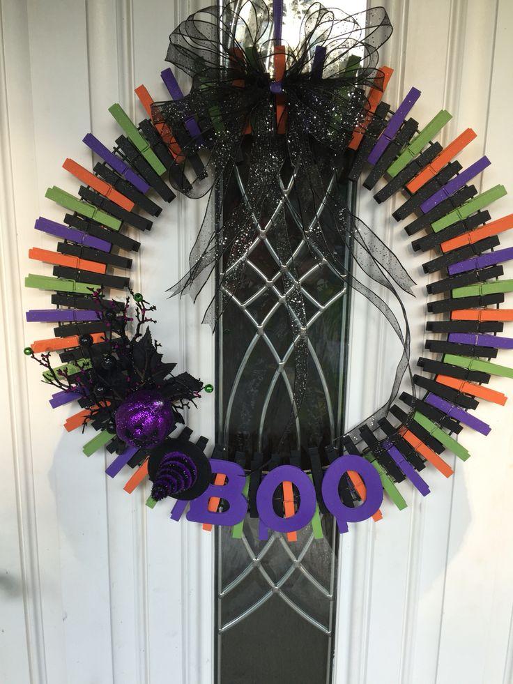 Halloween clothespin wreath.