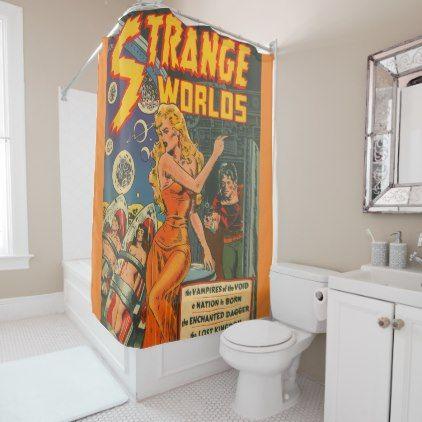 #strange worlds shower curtain - #Bathroom #Accessories #home #living