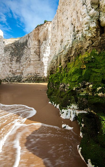 The cliffs and surf on Botany Bay, Broadstairs, Kent, UK. This whole stretch of Coast is where we went for day trips to the sea in my childhood...such happy memories.