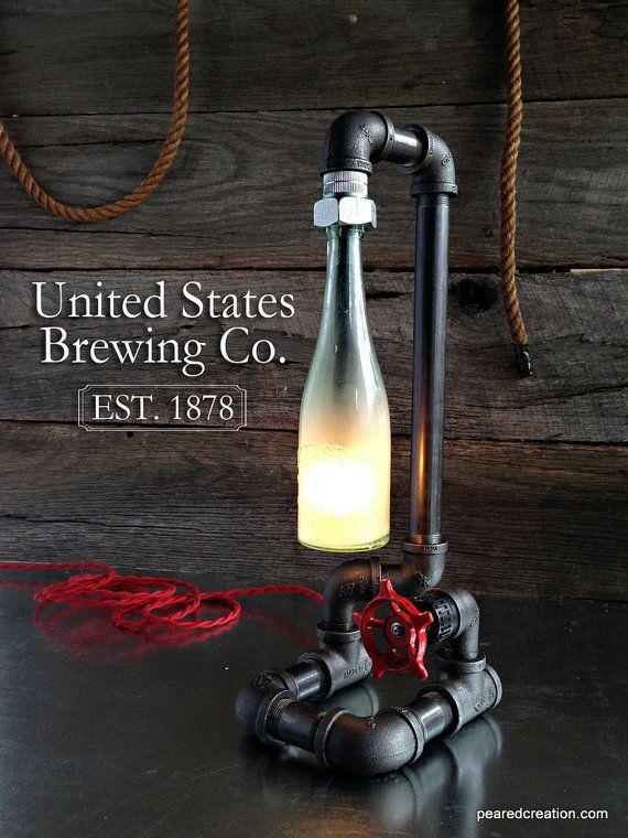 Tubo industriale vintage lampada rubinetto di newwineoldbottles