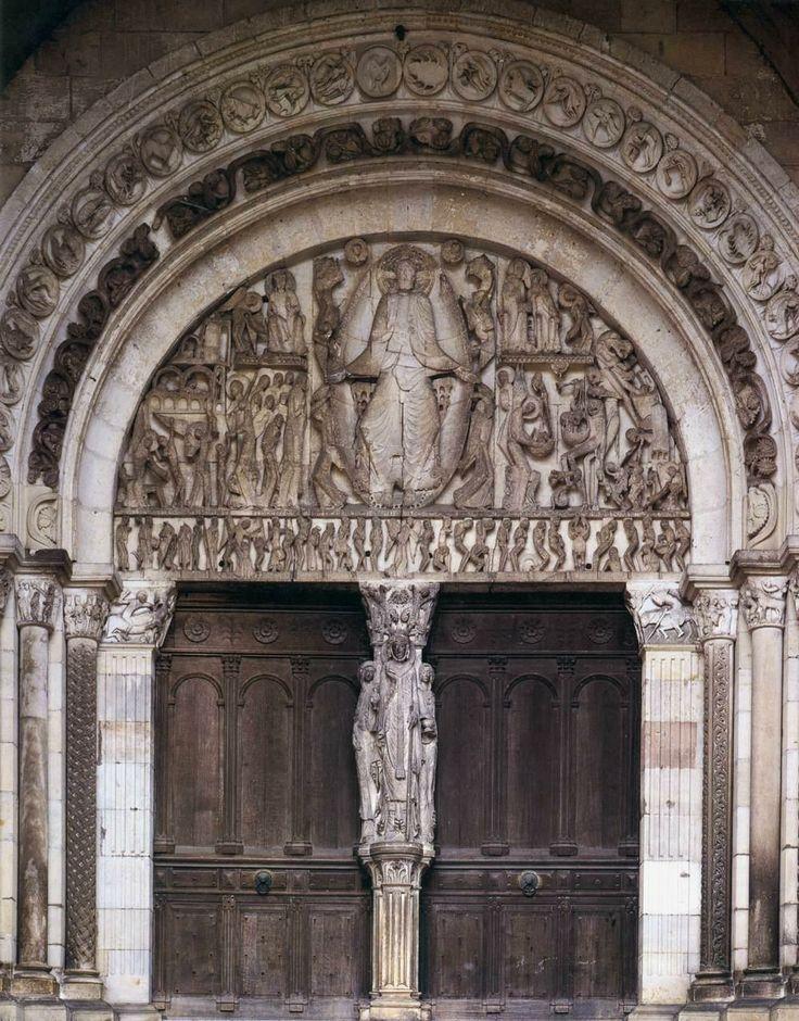Last Judgement, west portal tympanum by Gislebertus cathedral of Saint-Lazare Autun, France ca. 1120-1135