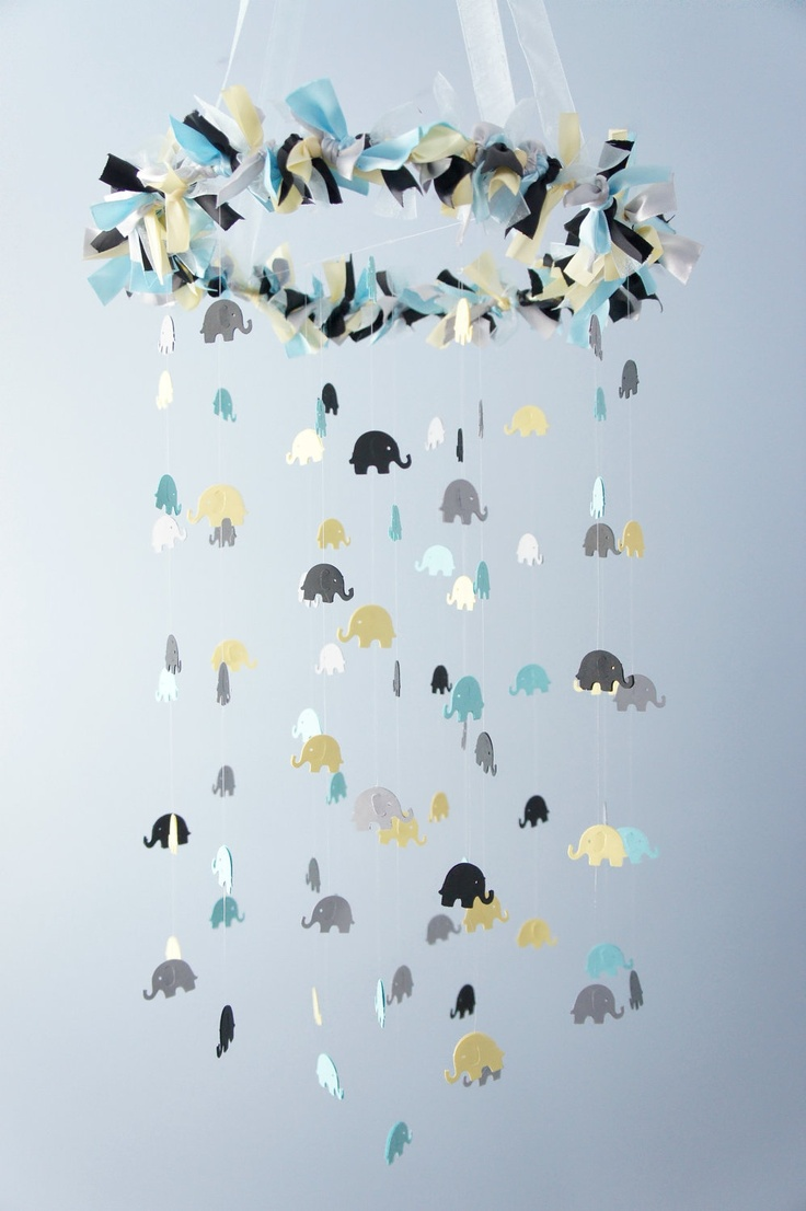 Blue Elephant Mobile for Baby Nursery in Blue Gray Yellow. Easy to make with any animal/color scheme.  Would be cute in a  baby boy's nursery.