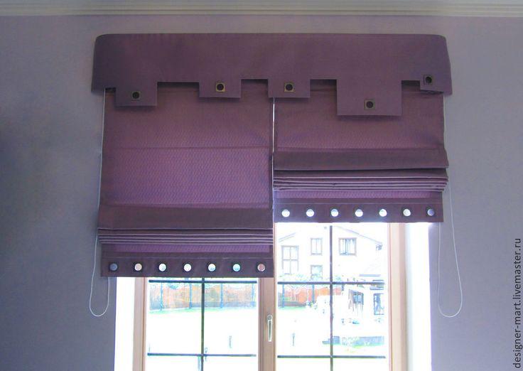 Купить Шторы с люверсами - фиолетовый, римская штора, ламбрекен, штора с люверсами, люверсы, тафта, люверсы