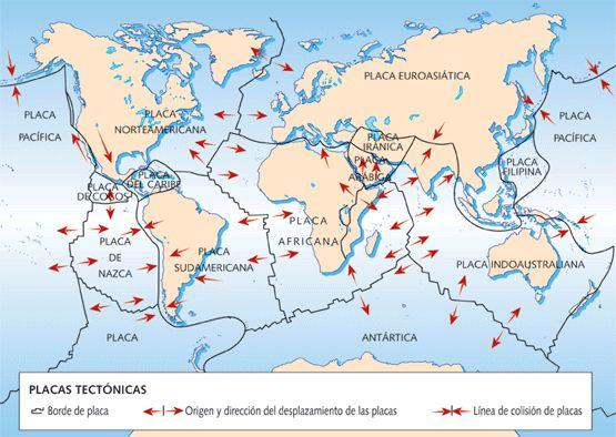 cuaderno de historia y geografía: Las placas tectónicas y el relieve terrestre y marino. Terremotos y volcanes