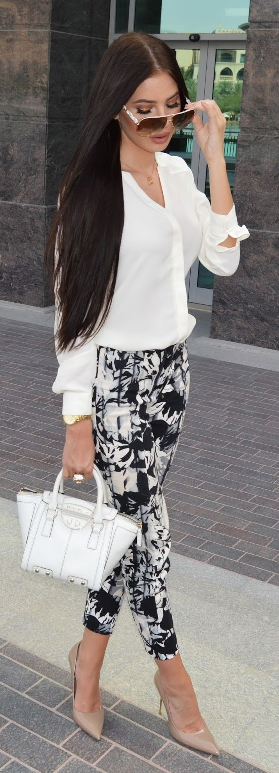White shirt, floral pants, white bag. Street women fashion outfit clothing style apparel @roressclothes closet ideas