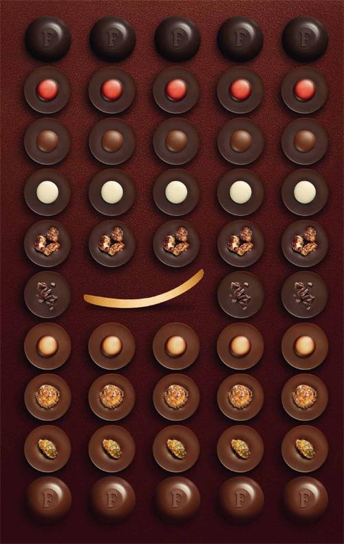Choc Made in F  Des goûts essentiels, structurés, francs et élégants composent cette interprétation inédite.  20 bonbons aux lignes émancipées, véritables petites bouchées précieuses, se déclinent autour de deux couvertures de chocolat exceptionnelles : l'une, noire à 70% de cacao, issue de fèves Criollo « Carenero Superior », 100% Venezuela, de la région de Barlovento.  La seconde, lait 40% de cacao, issue de fèves « Ivory Coast Good Fermented », de plans  Forastero, 100% Côte d'Ivoire.