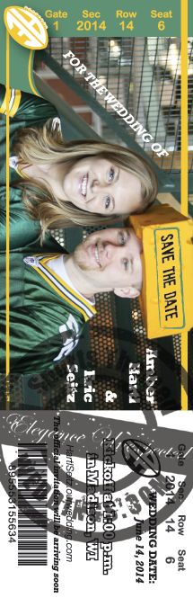 Green Bay Packer fans love our Football Ticket Wedding Save the Dates.  Our graphics department is full of really creative artists  that take pride in matching a unique design with each customer.  Our policy of unlimited revisions ensures that you get exactly what you want - contact us today!