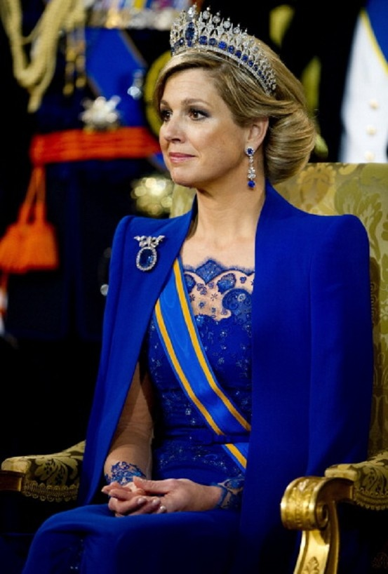 Queen Maxima of the Netherlands attends the inauguration of her husband King Willem-Alexander of the Netherlands at the Nieuwe Kerk (New Church) in Amsterdam on 30 April 2013.