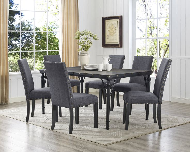 Raquel Wood Rectangle 7 Piece Dining Set with Fabric Nailhead Chairs