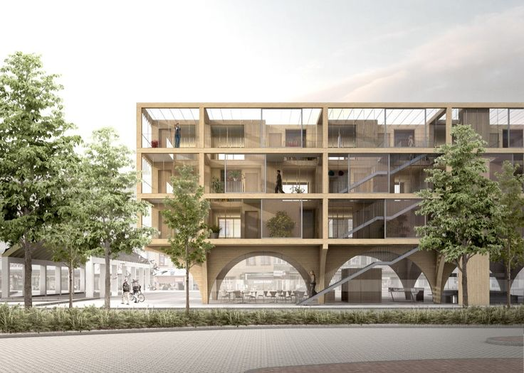 JAJA Architects - Swedish Housing and Market Hall Hybrid proposal for a competition - Katrineholm, Sweeden