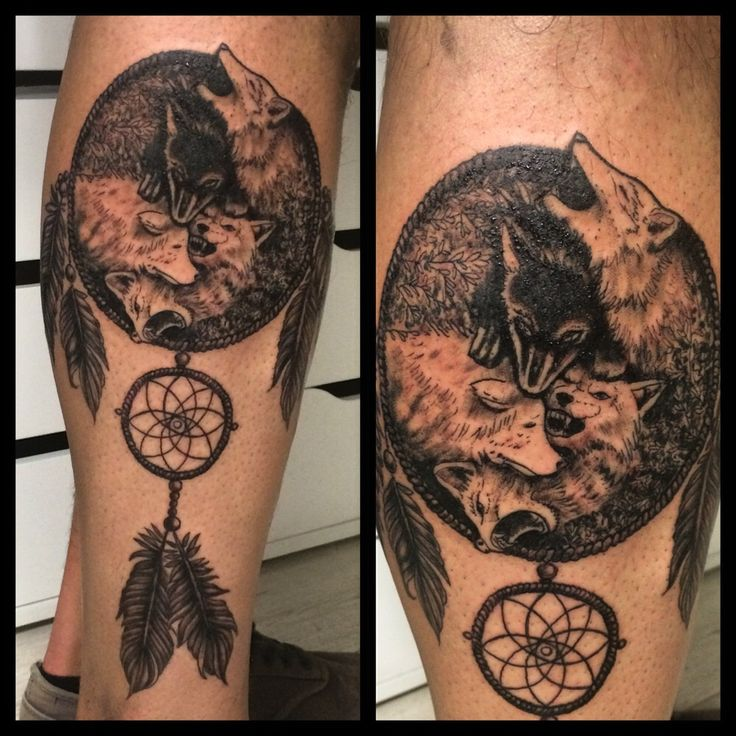 Dreamcatcher wolf tattoo from customer idea