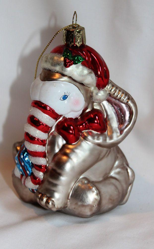 Sitting Santa Elephant Blown Glass Ornament Santa Hat, Striped Trunk & Bow - NEW