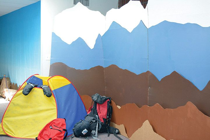 Layered cardboard can be used to create mountain scenes all around your Everest VBS. Learn more about Everest VBS by visiting http://www.group.com/everest. #EverestVBSDecorating #EverestVBS2015