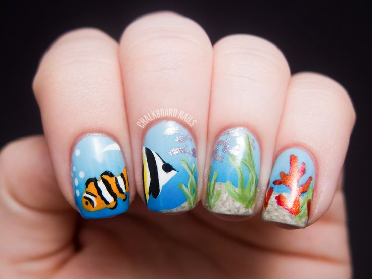 Ocean Scene Nail Art- I really want to try this