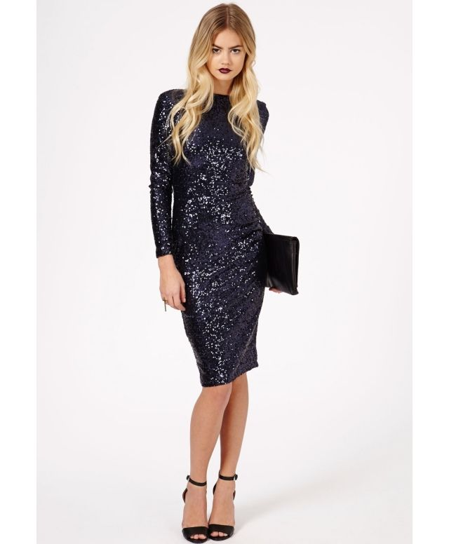 I discovered this Missguided - Lorianna Low Back Sequin Midi Dress In Navy on Keep. View it now.