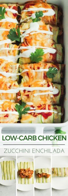 Low-carb Chicken Zucchini Enchilada. A delicious dish that is low in carbs but high in flavor.