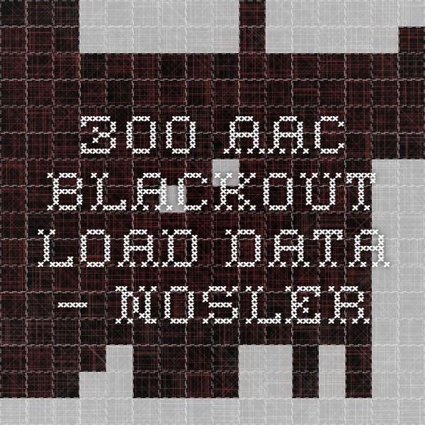 300 AAC Blackout Load Data — Nosler