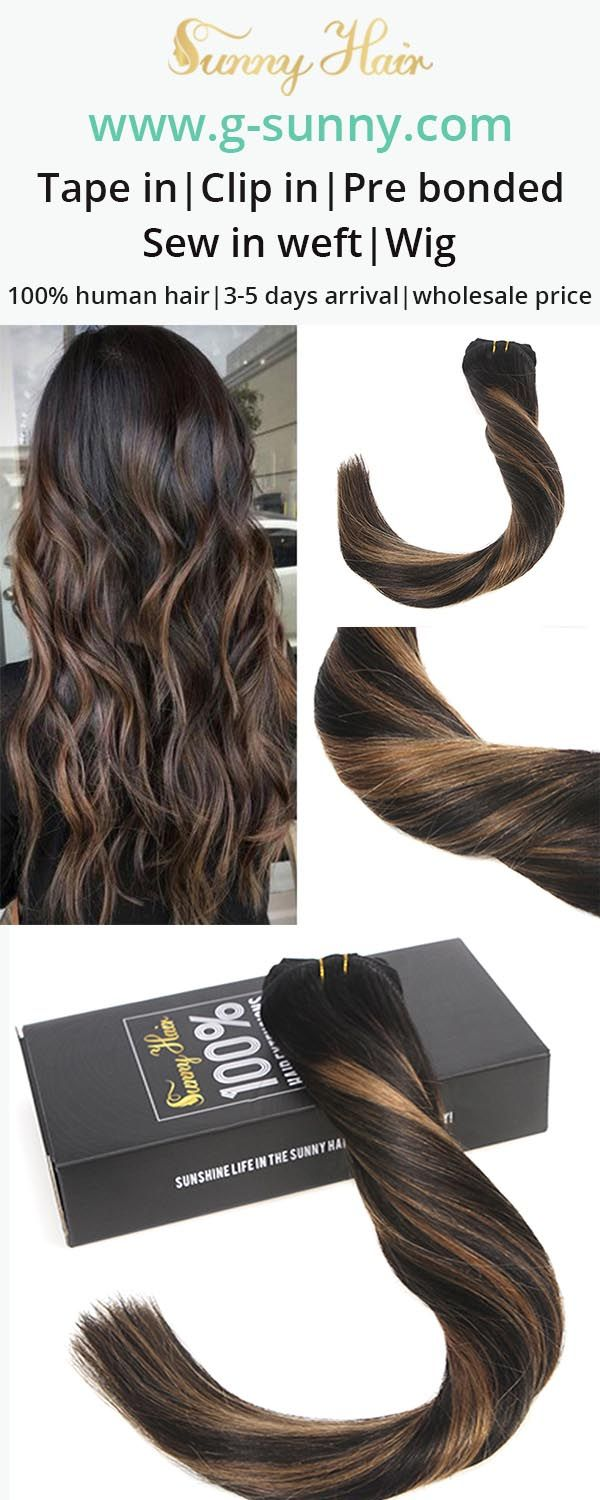 Sunny Hair 100% real human hair extensions. Black to brown balayage hair color clip in human hair extensions, get fuller longer hair within 3 minutes. www.g-sunny.com