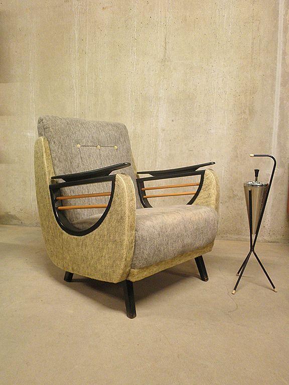 dutch fifties easy lounge chair vintage retro mid century rookstoel