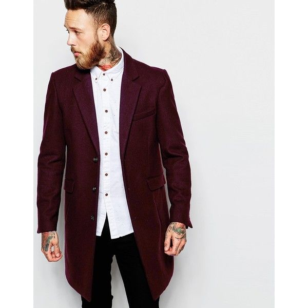 ASOS Wool Overcoat In Burgundy ($69) ❤ liked on Polyvore featuring men's fashion, men's clothing, men's outerwear, men's coats, burgundy, big tall mens wool coats, asos mens coats, mens burgundy coat, mens red trench coat and mens wool outerwear