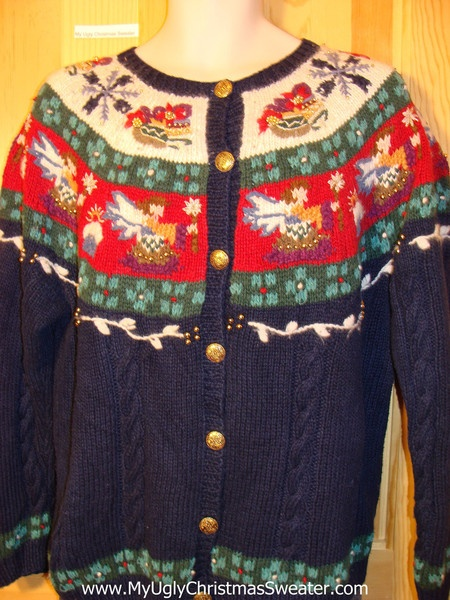 Tacky Cheap Ugly Christmas Sweater with 2sided Decorations of Angels and Nordic Patterns