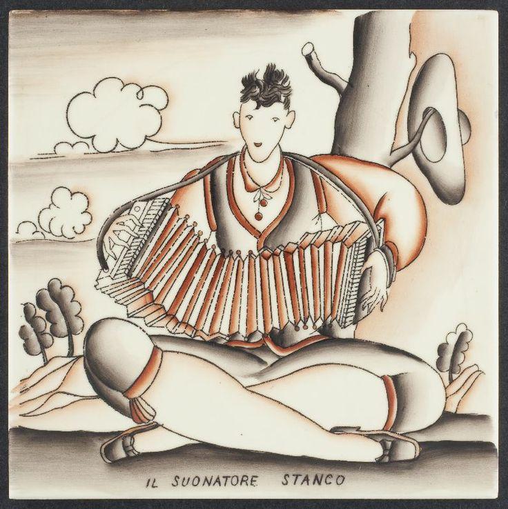 "1929 Handpainted Glazed Tile, Italian ""Il Suonatore Stanco"" - The Tired Player - seated accordianist. Giò Ponti Designer, Richard-Ginori Maker"