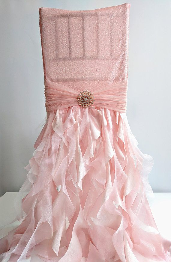 chair covers rose gold side tables with storage reachel sequin blush pink cover in 2019 table decor this beautiful full length ruffled is a very fresh and modern piece what gives an elegant look to any event the delicate tulle belt around
