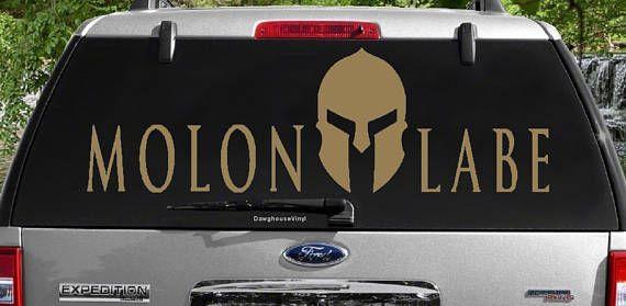 Molon Labe Spartan Helmet Vinyl Decal English Come and Take