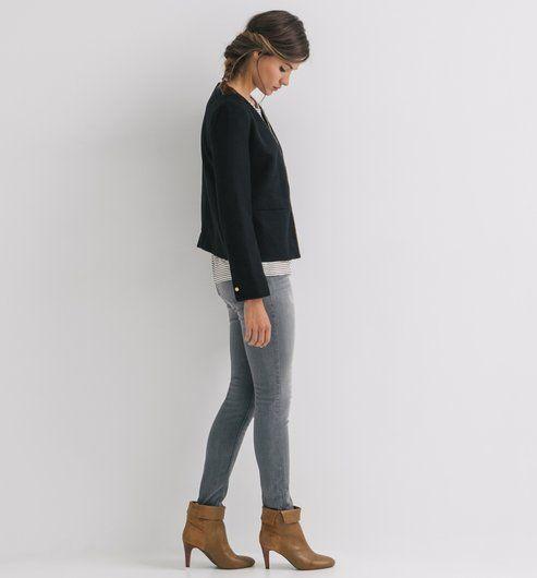Chaqueta corta de tweed negro - Promod