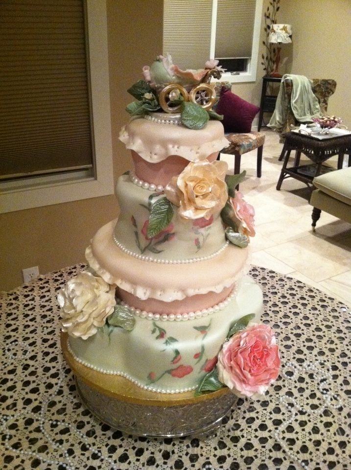 shabby chic bridal shower cakes%0A My cousin  who did my wedding cake  actually did this one
