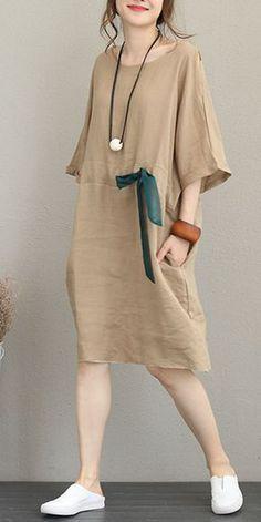Fashion Drawstring Linen Dresses Women Casual Clothes Q1168