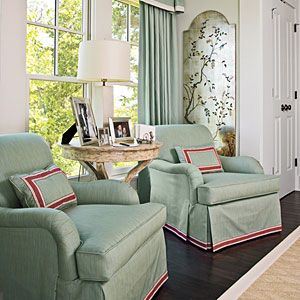 Stylish Bedroom Seating | Bay Window | SouthernLiving.com - not a huge fan of the color, but I like the look for our bay window upstairs.