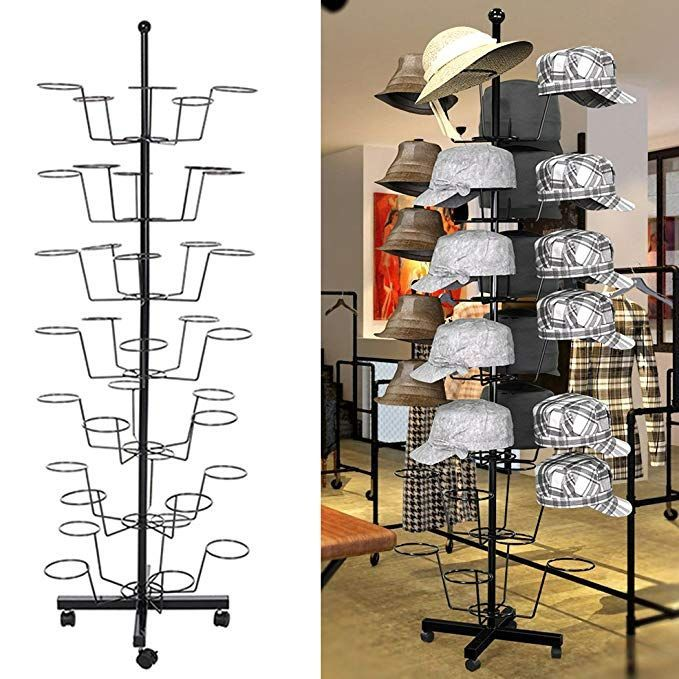 Adjustable Fashion Hat Cap Display Metal Stand Hanger Rack Retail Store 35Hats