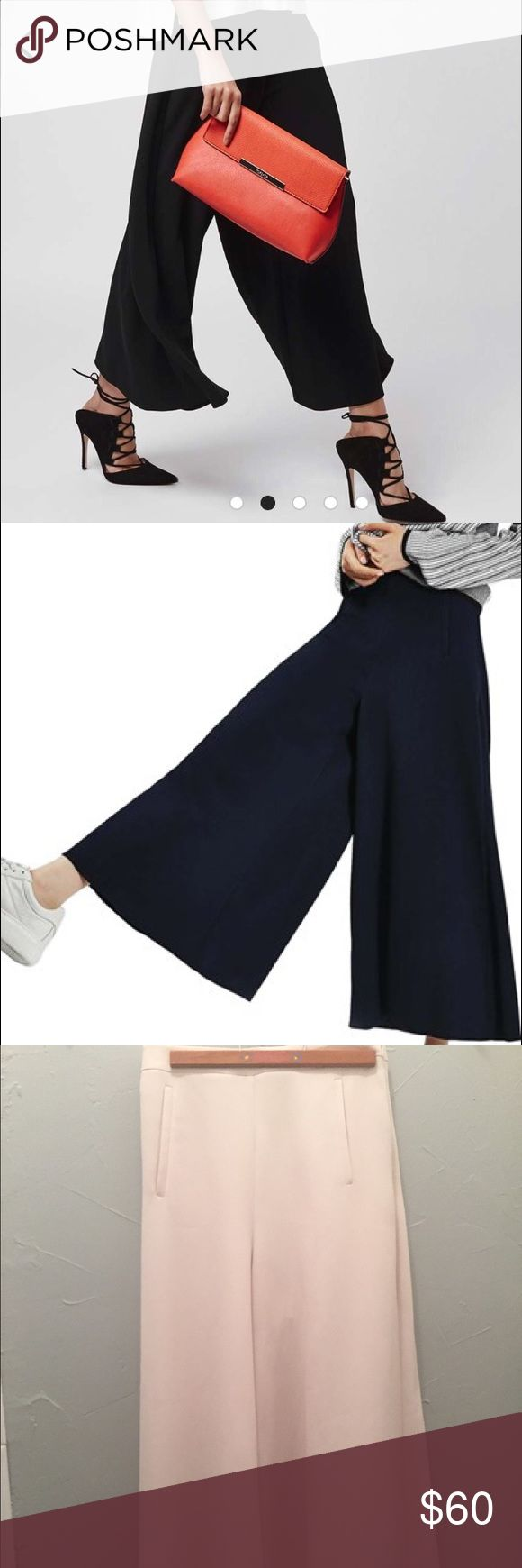 Top Shop Wide Leg Palazzo Pant Top Shop wide leg crop palazzo pant in cream. Never worn. Sharing images of the pant in navy so you can see how they move. Fits like a 2 Top Shop Pants Wide Leg