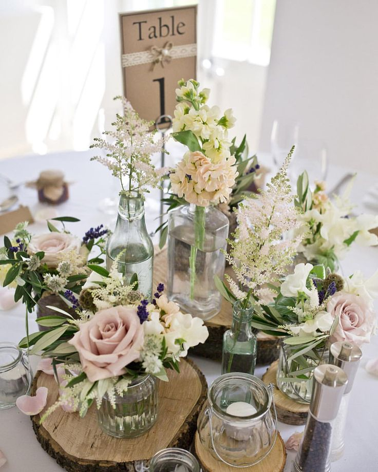 The prettiest rustic table centres for this morning's wedding in Yorkshire Photography by @mark_tattersall