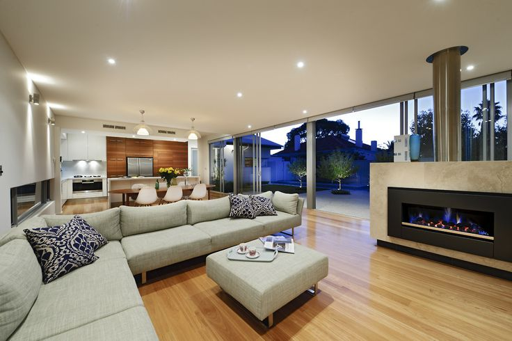Cambuild | Contemporary Custom Home | Luxury New Home | Living Room | Open Plan | Fireplace