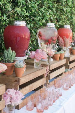 country wedding drink station decor / http://www.deerpearlflowers.com/wedding-drink-bar-station-ideas/