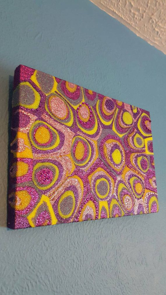 Pink, Purple and Yellow Glitter Painting Mixed Media Original Abstract Artwork