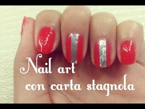 Nail art facile ed alternativa realizzata con l'aiuto della carta stagnola! Segui il tutorial! #nailart #nailarttutorial #smalti