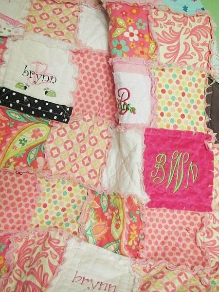 Quilt from all the monogrammed baby stuff you can't reuse.....GREAT idea!!