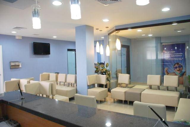 White Simple Medical Office Waiting Room Coordinated With Blue Sky Wall  #medicalofficefurniture