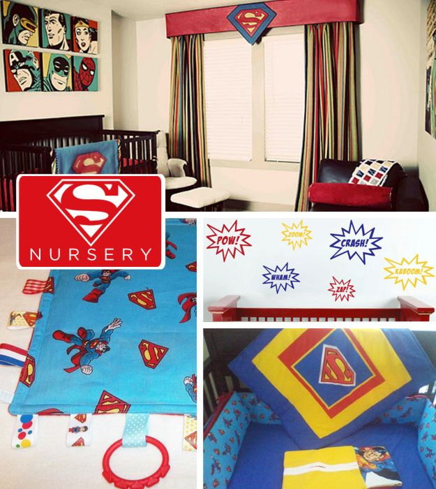 Little Kal-El grew up under the red sun of Krypton and that color would permeate his color scheme through the rest of his life as Superman. | 20 DIY Pop Culture Themes For Your Baby'sNursery
