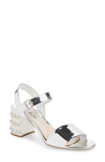 50bd1fbae879 Women s Miu Miu Crystal Embellished Block Heel Sandal