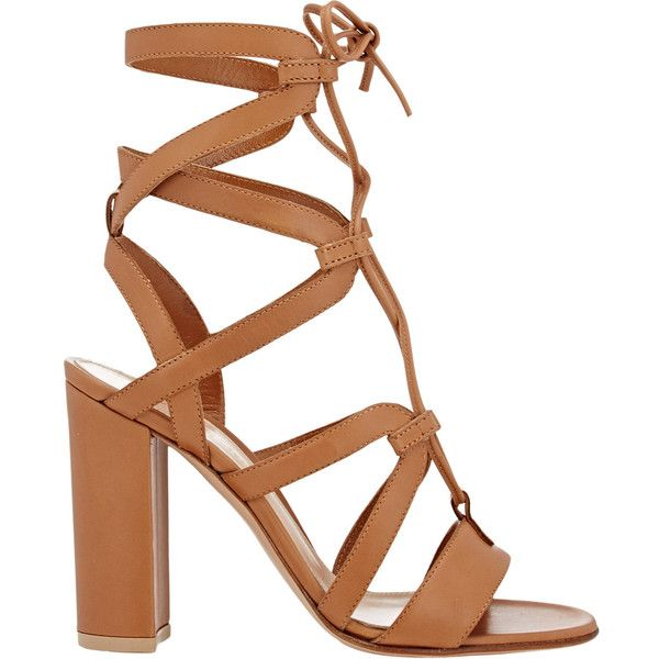 Gianvito Rossi Women's Lace-Up Gladiator Sandals (£390) ❤ liked on Polyvore featuring shoes, sandals, heels, sapatos, gianvito rossi, tan, leather gladiator sandals, lace up sandals, heeled sandals and tan sandals