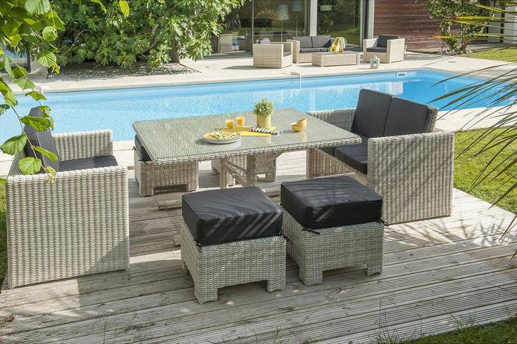 Salon de jardin Leroy Merlin, achat Salon jardin Oceane lunch blanc prix promo Leroy Merlin 1 290.00 €